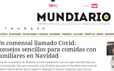Artículo en Mundiario, medidas en comidas navideñas para evitar el covid-19