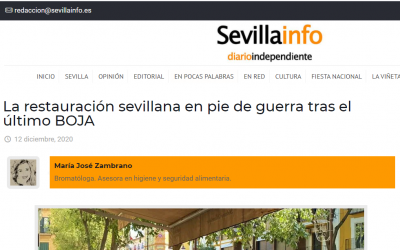 Artículo en Sevillainfo, Hostelería y medidas para Navidad. BOJA 11diciembre.20