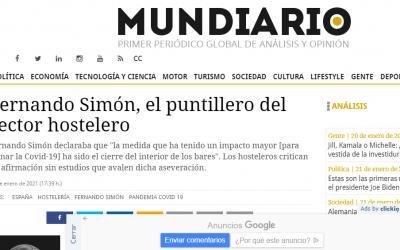 Artículo en Mundiario, Simón se mete a puntillero de la Hostelería