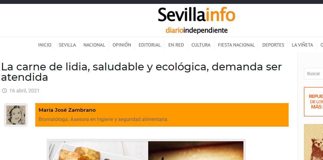 Artículo en Sevillainfo, La carne de lidia, sana y  ecológica  pero sin subvenciones