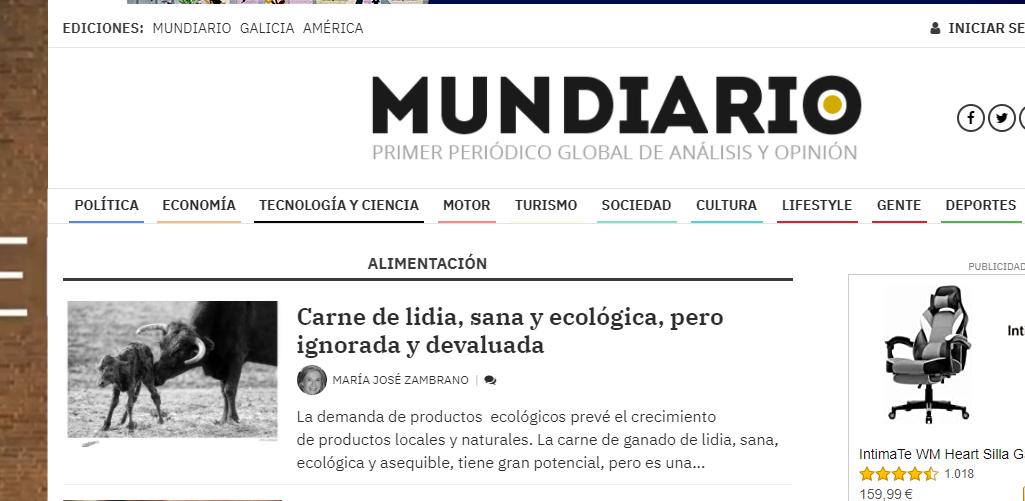 Artículo en MUNDIARIO, La carne de lidia, sana y  ecológica  pero desconocida