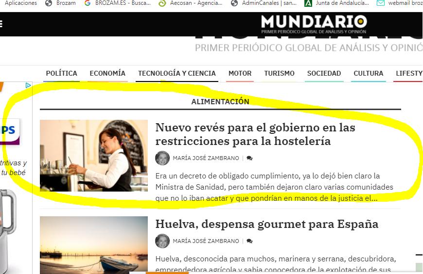 Mundiario, Nuevo revés para el gobierno en las restricciones de la hostelería